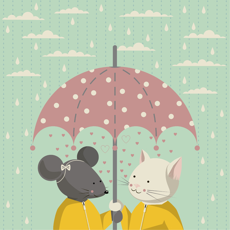 autumn cat: The illustration. Autumn. Cat and mouse in a yellow raincoat standing under a pink umbrella with white polka dots. On the sky clouds and rain.