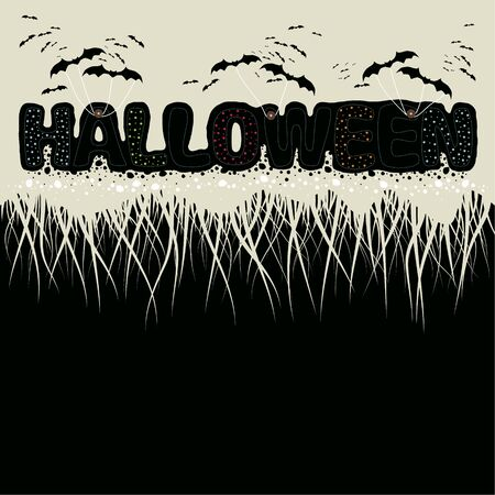 Illustration.The phrase halloween and bats on a beige background. Half of the image on a black background. Иллюстрация