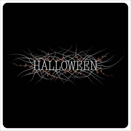 The cover of the invitation on Halloween. The depicts the phrase Halloween in white on a black background and a prickly shrub with few leaves in orange color. Ilustrace