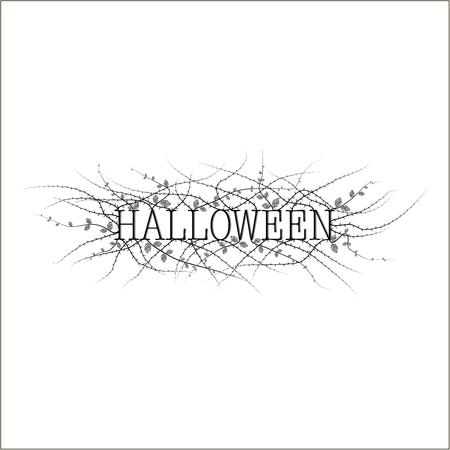 Het deksel van de uitnodiging op Halloween. Het toont de zin van Halloween in zwart op een witte achtergrond en een stekelige struik met weinig bladeren. Stock Illustratie