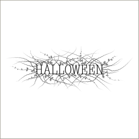 few: The cover of the invitation on Halloween. The depicts the phrase Halloween in black on a white background and a prickly shrub with few leaves.