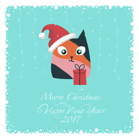 postcard box: Greeting card. The three-colored cat in Santa hat and red gift box. From the bottom of the postcard the phrase merry christmas and happy new year and numbers: two, zero, one, seven.