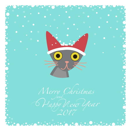one trim: Greeting card. Grey cat in a red hat with white trim. From the bottom of the postcard the phrase merry christmas and happy new year and numbers: two, zero, one, seven.