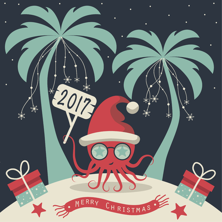 The cover design. Christmas on the island. Depicts two palm trees, a octopus in Santa Claus hat, garlands of snowflakes, presents on the sand, starfish and scarf with the words merry christmas. Ilustracja