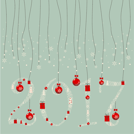 paraphernalia: The design greeting cards for new year and Christmas. A garland of numbers 2,0,1,7 composed of Christmas paraphernalia: snowflakes, Christmas gifts, Christmas decorations, Christmas trees.