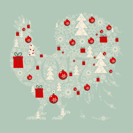 paraphernalia: The design greeting cards for new year and Christmas. Stylized image of a rooster, composed of Christmas paraphernalia: snowflakes, Christmas gifts, Christmas decorations, Christmas trees.