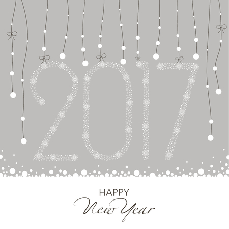 2 0: Cover design for the new year. Shows a garland with snow flakes and garland of numbers 2,0,1,7 on the snowflakes on a gray background. The inscription happy new year dark color. Illustration