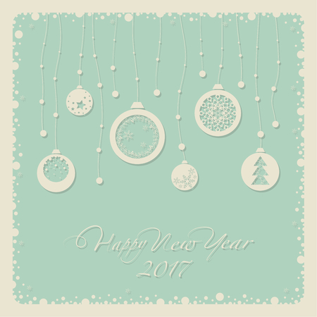 2 0: Cover design for the new year. Depicts Christmas decorations with symbols of the new year: Christmas tree, snowflake. The phrase happy new year and number 2,0,1,7. Illustration