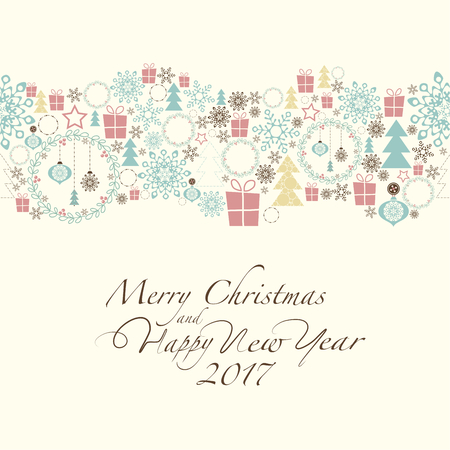 2 0: At the top of the card contains the Christmas decorations and symbols of Christmas and new year. The phrase merry christmas and happy new year and number 2,0,1,7 on the beige background.