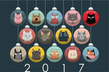 paraphernalia: The cover design for new year and Christmas. Depicts the faces of cats with Christmas paraphernalia on a Christmas decorations of the different colors.