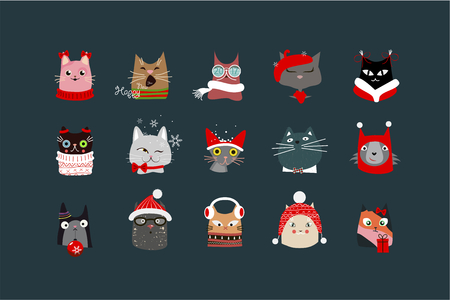 paraphernalia: Depicts the faces of cats with Christmas paraphernalia on a dark background.