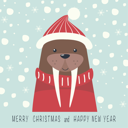 The cover design. Depicts a walrus in a cap and sweater in red. The phrase merry Christmas and a happy New year. Illustration