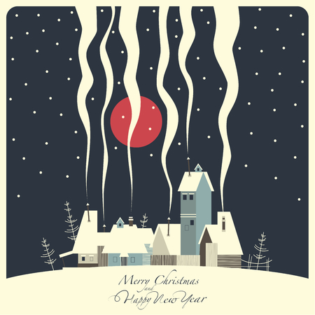 snowy hill: The cover of the card. Depicts a winter village on a snowy hill. From the pipes in homes is the smoke. From the sky the snow falls and the moon shines.The phrase merry Christmas and a happy New year.