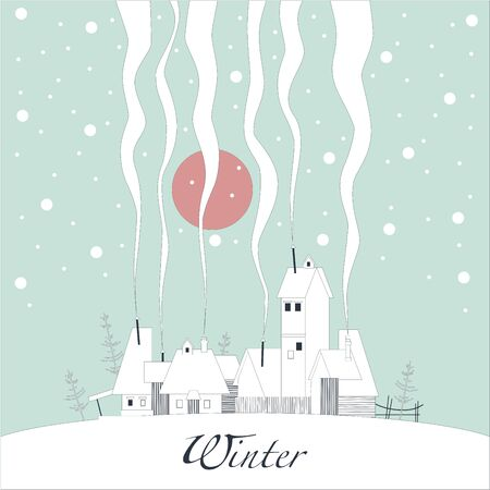 snowy hill: The cover of the card. Depicts a winter village on a snowy hill. From the pipes in homes is the smoke. From the sky the snow falls and the sun shines pink. Illustration