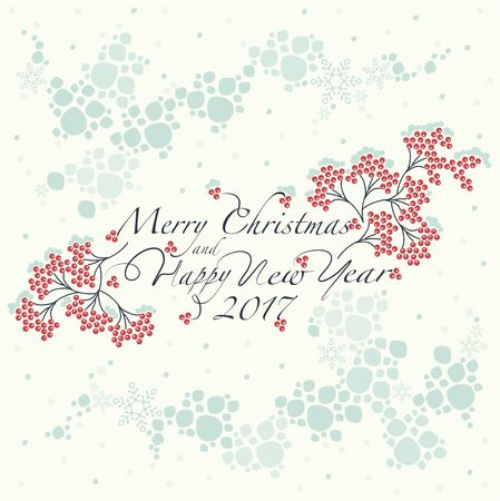 gently: Bunches of red Rowan, the pattern of the snow globe and the phrase merry christmas and happy new year on the white background.