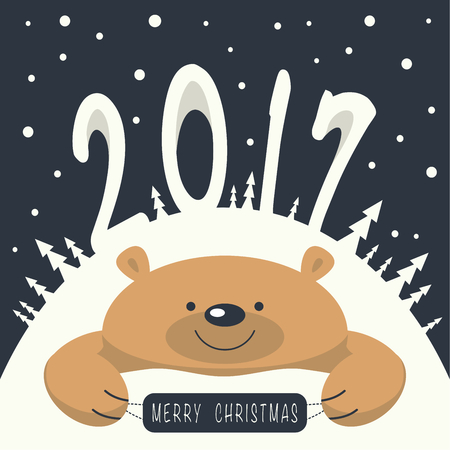 2 0: Christmas card. Brown bear lies on a snowdrift. On the mountain a bear figures 2,0,1,7. Its snowing. Brown bear holds a sign with the phrase merry christmas. Illustration