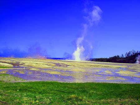 vapour: Mineral lake in Yellowstone Nayional park in twilights. Stock Photo