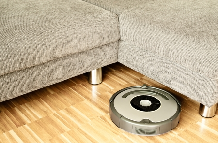 vacuum cleaning: Home Vacuum Cleaning Robot In Action