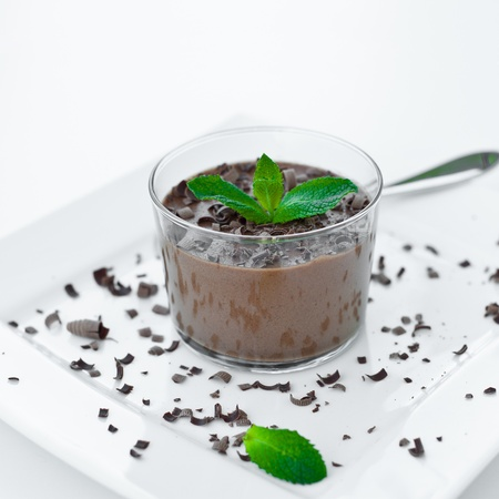 chocolate mousse with peppermint Imagens