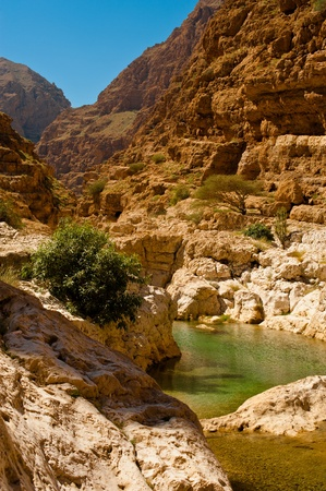 Wadi: the wadi shab with emerald green water Stock Photo
