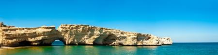 panorama of beautiful cliff in the arabian sea in muscat, oman