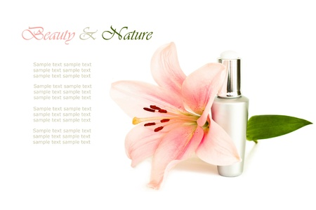luxury natural cosmetic with flower and copy space Imagens