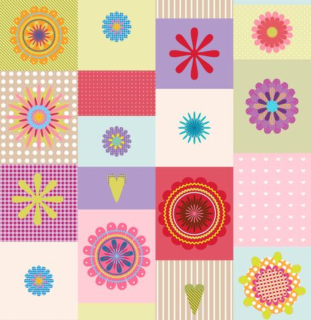 colorful seamless repeating flower design Illustration