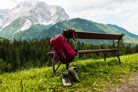 hiking boots: Hanging backpack and hiking shoes