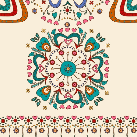 Hand drawn mandala flower pattern Vector