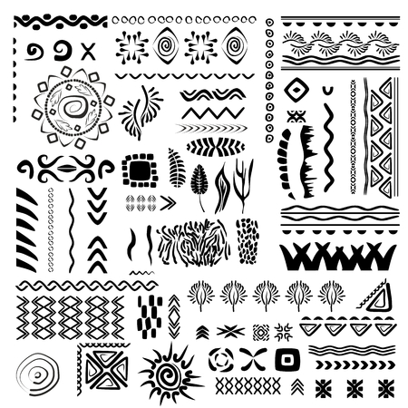 border line: Hand-drawn vector set border line and design element