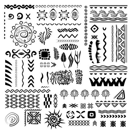 tatouage fleur: Hand-drawn vector set frontière et élément de design Illustration