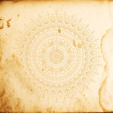 Vintage antique paper background with mandala Imagens