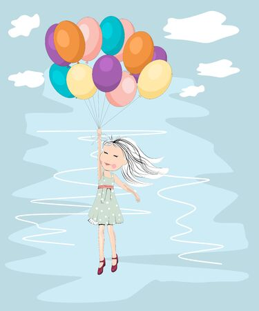Flying away with balloons Vector