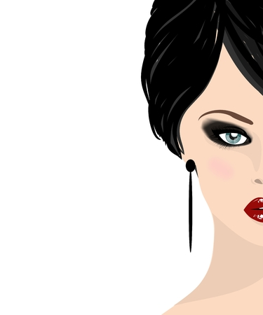 beautiful woman face with red lips