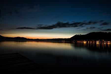 Lake Hopfensee, a mountain lake near Fuessen, Germany at sunset.