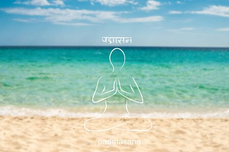 practitioner: Yoga illustration. Yoga poster with ocean waves with practitioner of yoga. Poster for yoga studio or yoga class on a blurred photo background. Template for yoga website.