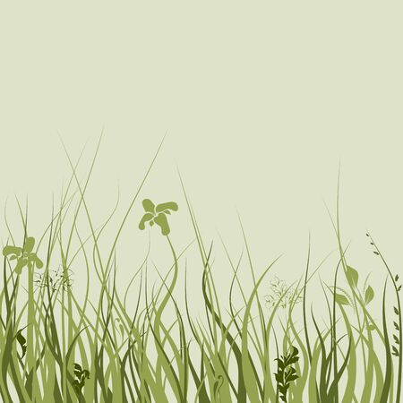 pollen: Silhouettes of flowers and grass. Vector illustration.