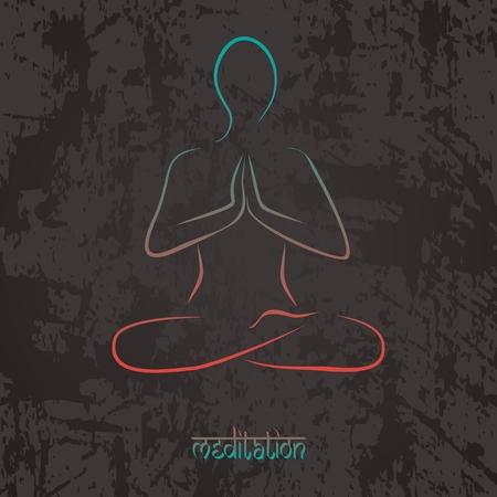 Illustration for meditation or yoga class. Ilustração