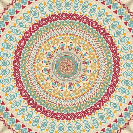 Illustration of colorful mandala. Round pattern, oriental style