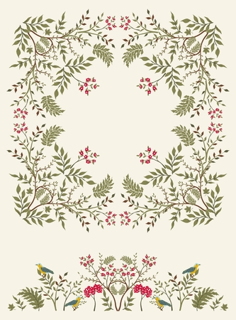 retro christmas: Floral frame with border for your design.