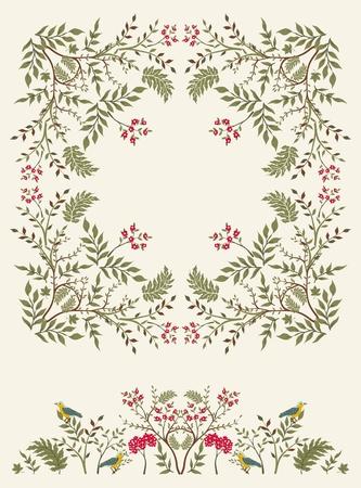 Floralen Rahmen mit Grenze für Ihr Design. Vektorgrafik