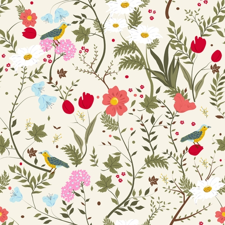 Seamless pattern with plants and birds