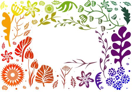 Vector rainbow color frame design made of flowers. Floral card with copy space
