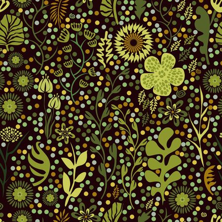 Seamless pattern with branches and leaves in vintage style Ilustração
