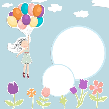Flying girl with ballons. Birthday party invitation.