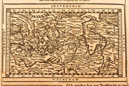 Photograph of ancient world map Imagens