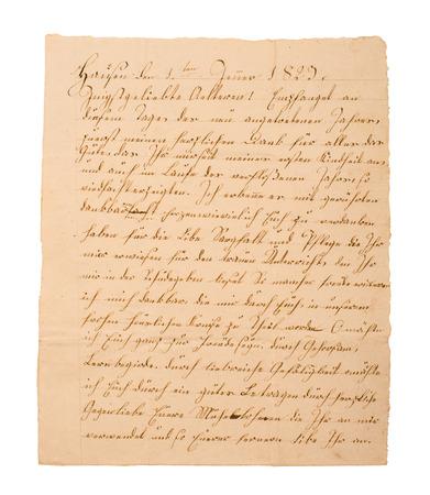 Fragment of an old handwritten letter. It was written in 1829