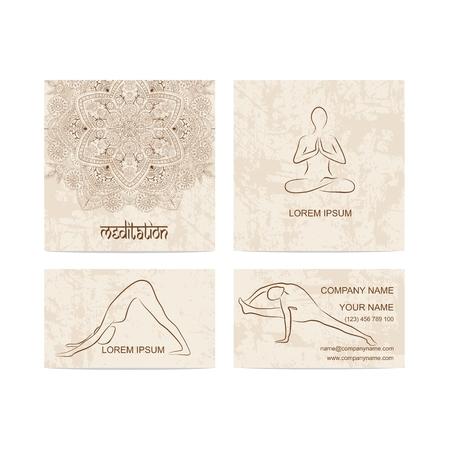 Set of business card for yoga studio Ilustração