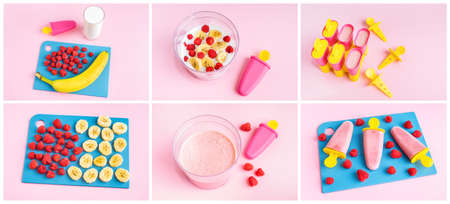 Step by Step Collage instruction of making homemade raspberry ice cream. Delicious healthy dessert sugar free. Health care. Home cooking concept. Hobby and activities at home.