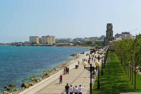 NOVOROSSIYSK, RUSSIA - MAY 08.2016: embankment of the city of Novorossiysk with strolling people